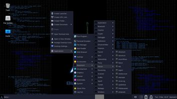 BlackArch Linux Slim right click menu